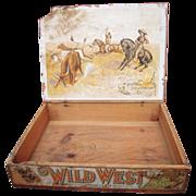 Victorian era Wood Advertising Display Box Wild West Soap