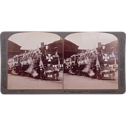 Stereoview Pres McKinley Decorated Locomotive at Oakland, CA