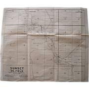 1908 Sunset Oil Field Map Kern County, CA