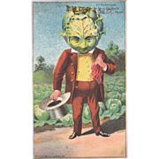 Advertising Victorian Trade Card of Cabbage Head Man