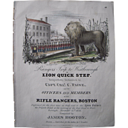 "SOLD 1834 Sheet Music ""Lion Quick Step"""
