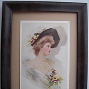Framed Boileau Postcard w/Boileau Advertising Backing