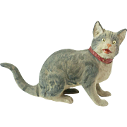 """SOLD RARE Antique German Flocked Papier Maché Kitty Cat Candy Container 7 1/2"""""""