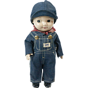 1920s  Buddy Lee Jeans Advertising Doll with Overalls and Original Hat MINT
