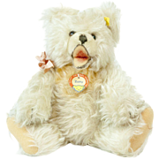 "SOLD RARE 1950s German Steiff White ""Zotti"" Long Hair Teddy Bear 11"" MINT"