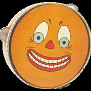 "SOLD 1910s German Halloween Pumpkin Face Child's Tambourine 7 1/2"""