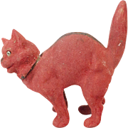 SOLD 1910s German Papier Maché Flocked Red Devil Halloween Cat Candy Container
