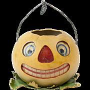 "SOLD RARE 1920s Large German Papier Maché Yellow Pumpkin Jack-o-Lantern 6"""