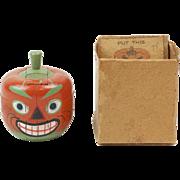 """SOLD 1920s Wooden Halloween Pumpkin 3D Puzzle in Original Box 2 1/4"""""""