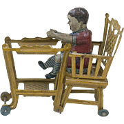 """RARE 1910s Antique German Lithographed Tin Baby in a High Chair Penny Toy 2 1/2"""""""