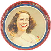1950s Corona Beer Tin Advertising Tray with Beautiful Lady