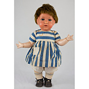 Unusual 1910s German Turtle Mark Celluloid Head Jointed Toddler Dolls