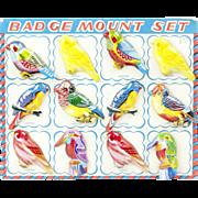 SOLD Sheet of 12 Vintage Japanese Tin Bird Pin Badges