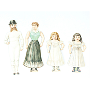 Antique Paper Doll Family with Four Outfits and Original Envelope