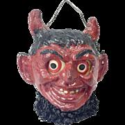 """SOLD Antique German Poured Papier Maché Krampus Devil Jack-O-Lantern 4"""""""