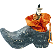 """SOLD 1920s German Papier Maché Witch's Shoe Candy Container 6"""""""