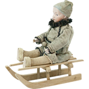 """SOLD Antique German Heubach Bisque Headed Christmas Candy Container Boy on a Sled 5"""""""