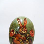 1920's/30's Large German Rabbit Litho Easter Egg Candy Container 7 Inches Tall