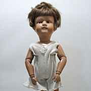 19teens 16 Inch Schoenhut Doll with Original Mohair Wig and Label