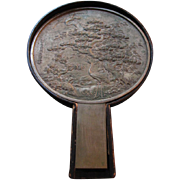 SALE Japanese  Bronze and Silvered Hand Held Mirror