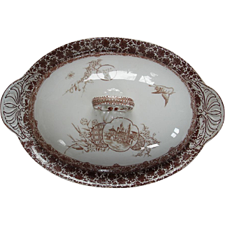 "Tureen by Copeland-""Cairo""-scroll with domed and turreted building, waterlilies and palm trees"