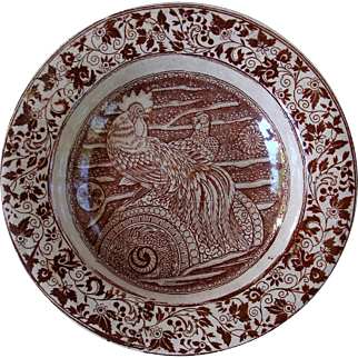 Rice plate with Rooster/cockerel full plumage on Japanese roundel