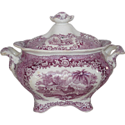 """REDUCED """"Oriental"""" pattern Sugar Bowl with camel, domed temple, and palm trees"""
