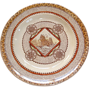 "Wisconsin"" dinner plate with large sailing vessels in full sail"