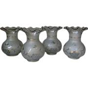 Set 4 Antique Mid 19th Century ASTRAL Blown & Cut Glass LAMP SHADES circa 1850