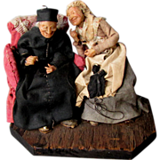 SOLD Antique 19th Century Hand Made DIORAMA Miniature Wax Head Figures GOSSIPING Tittle-Tattle