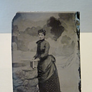 Vintage Tintype Photograph Posing Lady with Fashionable Bustle Dress