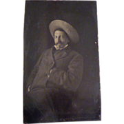 Antique Tintype of Man with Straw Hat