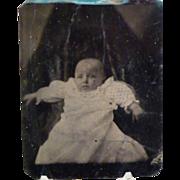Vintage Tintype Child with Creepy Shrouded Background