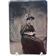 Vintage Tintype Woman Reading Letter