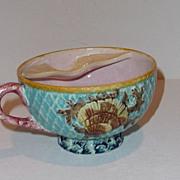 Majolica Mustache Cup Mug - Fielding Shells & Fish Net
