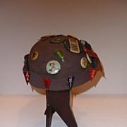 Vintage Felt Beenie Cap with Collectible Collegiate Pins