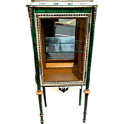 Vitrine in the Russian Style with Faux Malachite Refreshed Paint