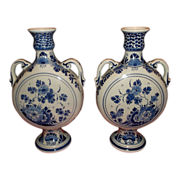 Pair of Mid 20th Century Hand Painted Blue Delft Vases