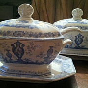 SALE Rare Pair of Transferware Sauce or Gravy Tureens Both with Ladles and underplates