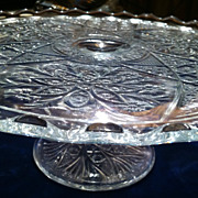 SALE Vintage Footed Pressed Pattern Glass Cake Stand Plate
