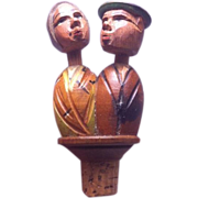 SALE Anri Carved Wooden Mechanical Bottle Stopper Cork Kissing Couple