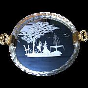 Italian Venetian Murano Mirrored Etched Glass Round Tray