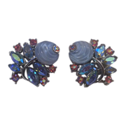 Trifari Molded Glass Flower Fruit Salad AB Clip-On Earrings