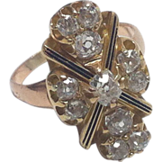 Fabulous Antique 14 Kt/18 Kt Mine Cut Diamond Cluster Ring