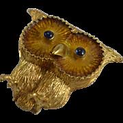 18K Yellow Gold Owl Dress Clip/Pin