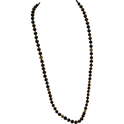 """30"""" 14K Yellow Gold Tiger's Eye Bead Lariat Necklace"""