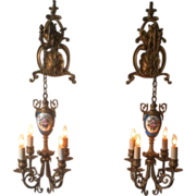 Pair of Beautiful Floral Pendant Lights or Sconces