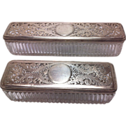 2 Georgian Silver Matching Glass Dresser Boxes with Cut-Out Sterling Tops