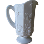 SALE Westmoreland Milk Glass Paneled Grape Pint Pitcher