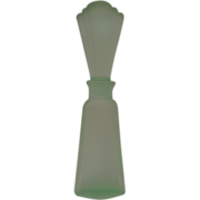 Vintage Green Frosted Glass Perfume Bottle